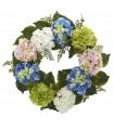 "24"" Hydrangea Wreath Blue White Green"